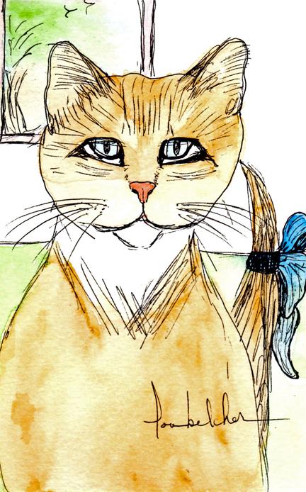 Blue Bow Cat SM