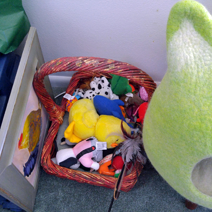 basket filled with substitute toys---also all valuable and necessary!!!